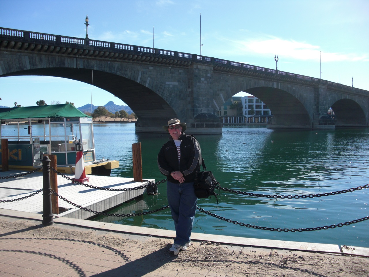 David in front of the London Bridge