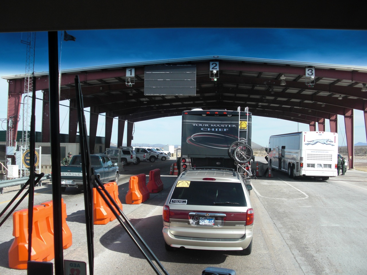 Approaching Border Patrol Inspection Station on Interstate 10 in Texas, Bob & Pat In Front Of Us