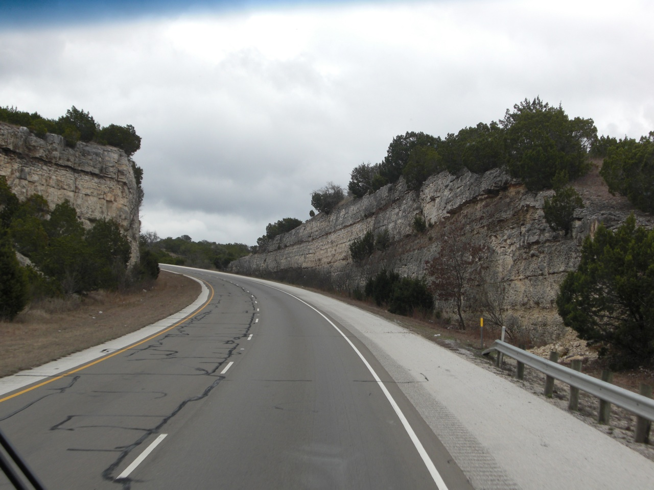 Driving Towards Bandera, TX. Interesting How The Mountain Is Split Right Down The Middle To Make Way For The Road.