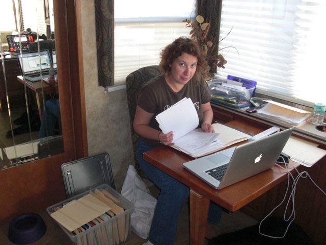 Brenda Working on Tax Paperwork