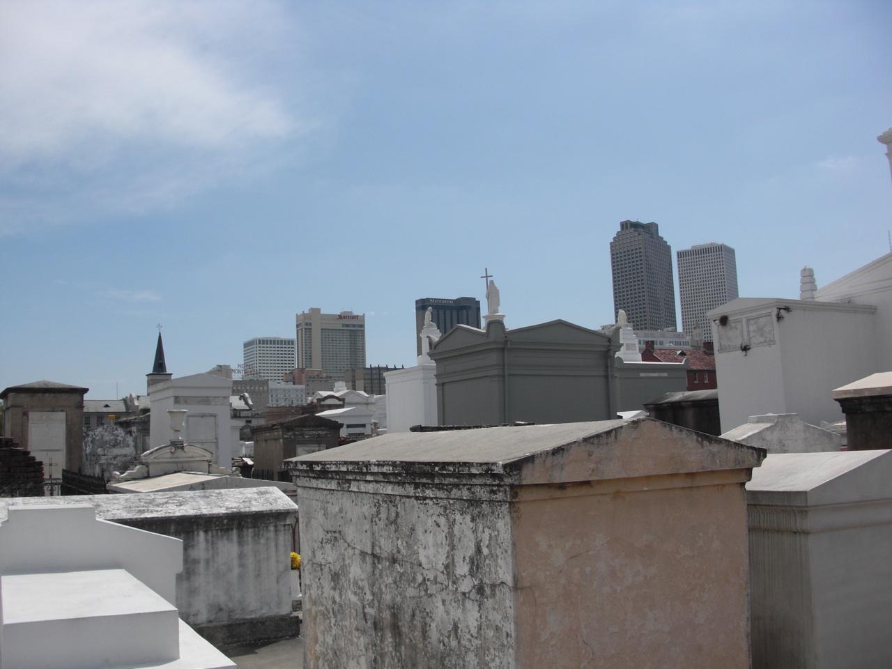 The City Skyline Behind The Cemetery
