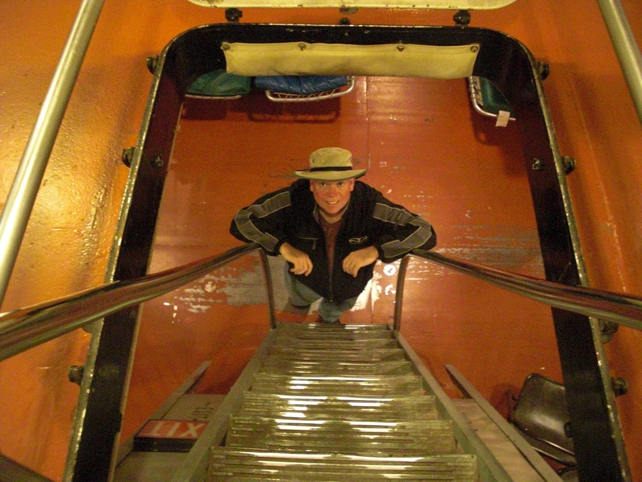 David Down One Level Aboard The USS Alabama. Very Narrow Steps. I Can't Imagine How The Solders Had To Hurry Down The Steps Without Falling.