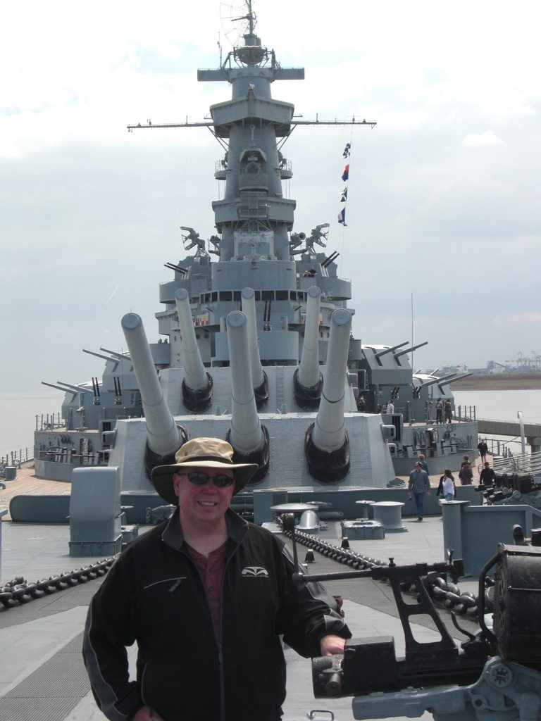David Standing On Deck of the USS Alabama Battleship