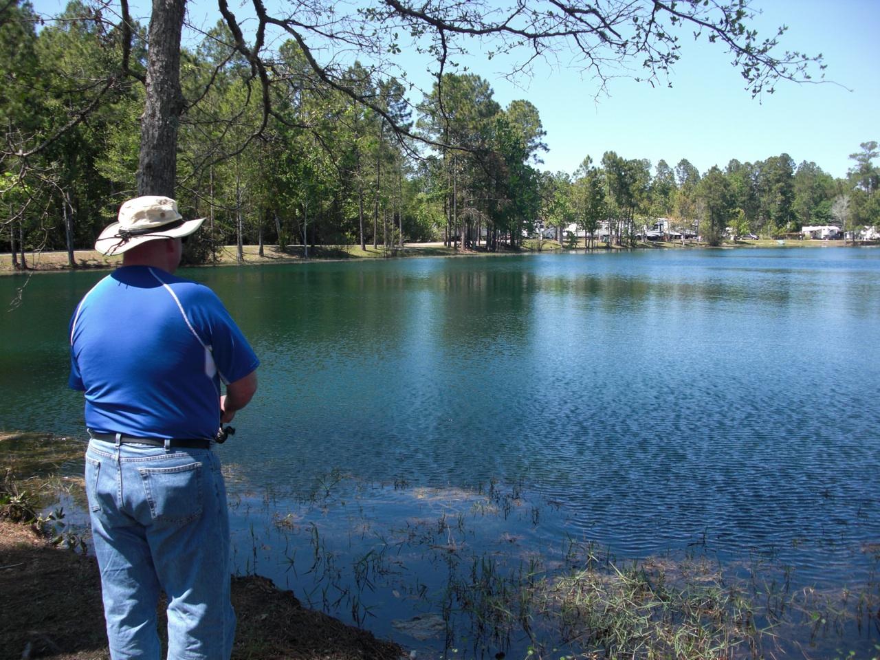 David Fishing at the Lake That Is At The Flamingo Lake RV Resort in Jacksonville, FL