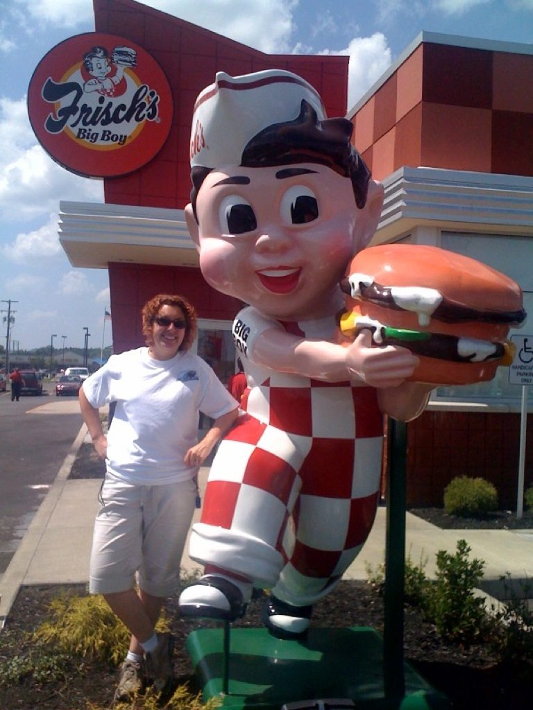 Brenda With Big Boy Statue