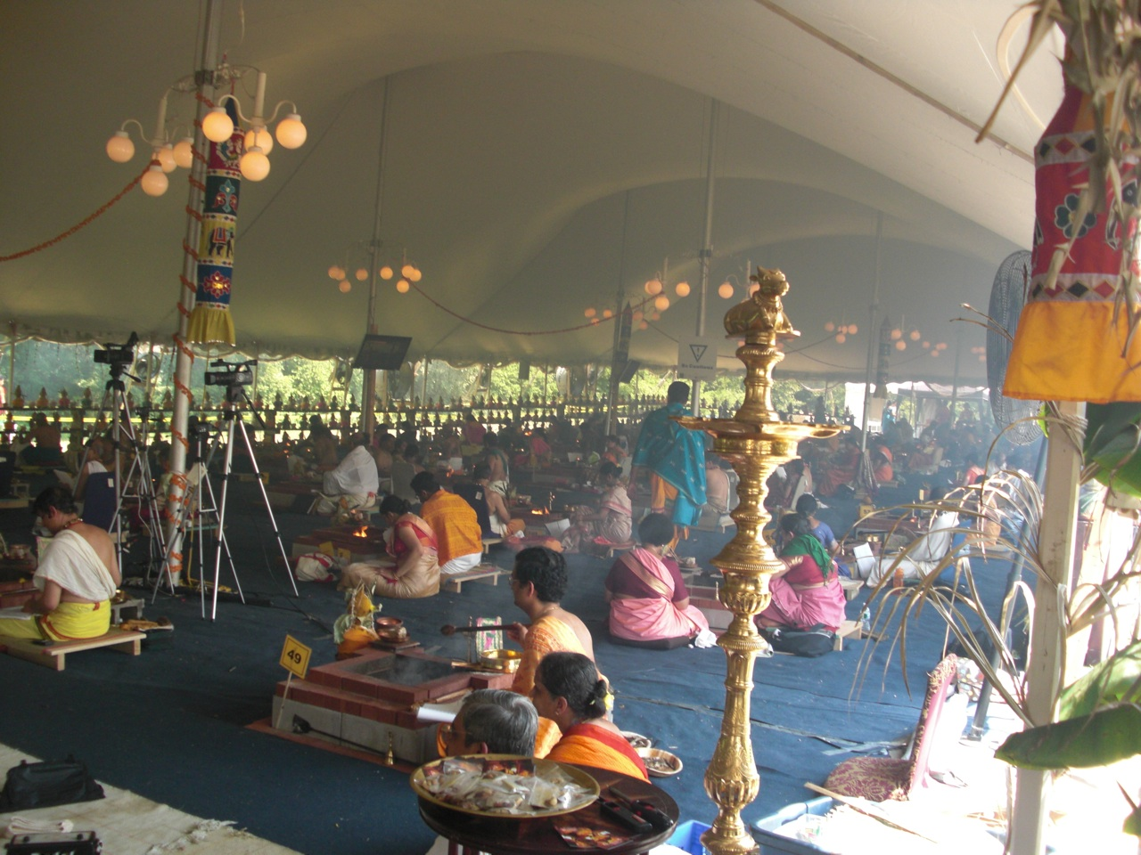 Ekadasa Rudra Homam Main Event Tent. Note: The Cameras Were Prodcasting This Over The Internet For Others To Log On And Enjoy.