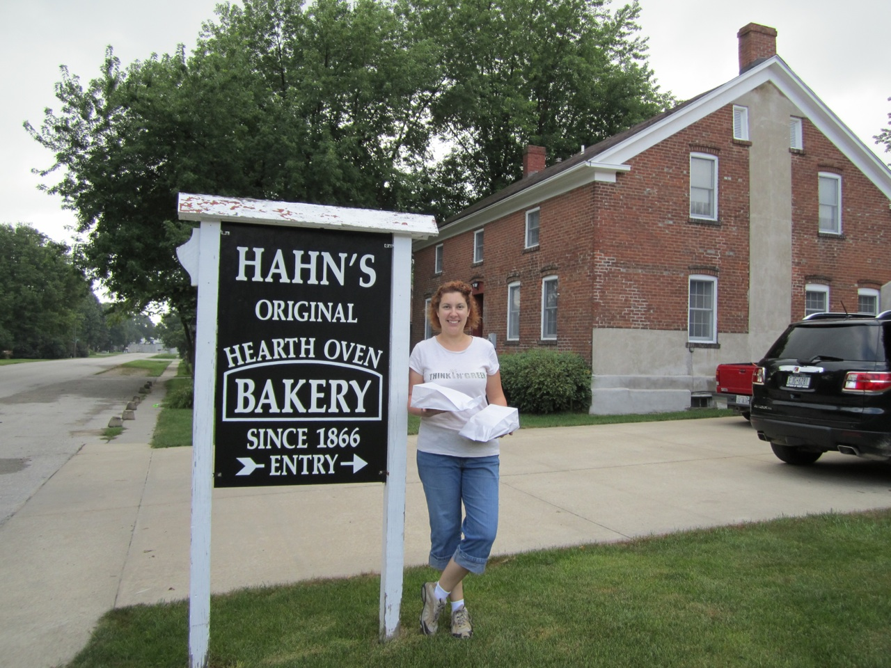 Brenda Outside Hahn's Bakery In Middle Amana, Iowa.