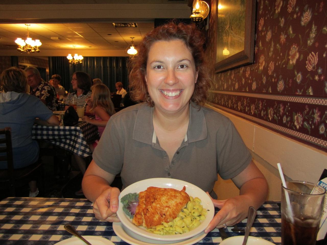 Brenda Having Chicken Schnitzel At The Ox Yoke Restaurant.