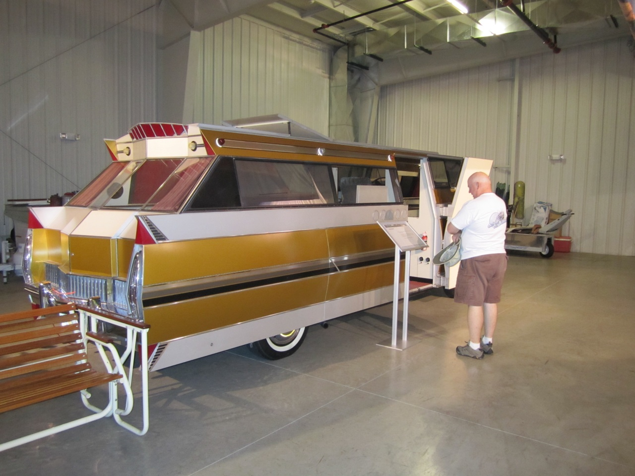 David Checking Out A Custom RV. It Was Made To Fit Into An Existing Garage Attached To A House.
