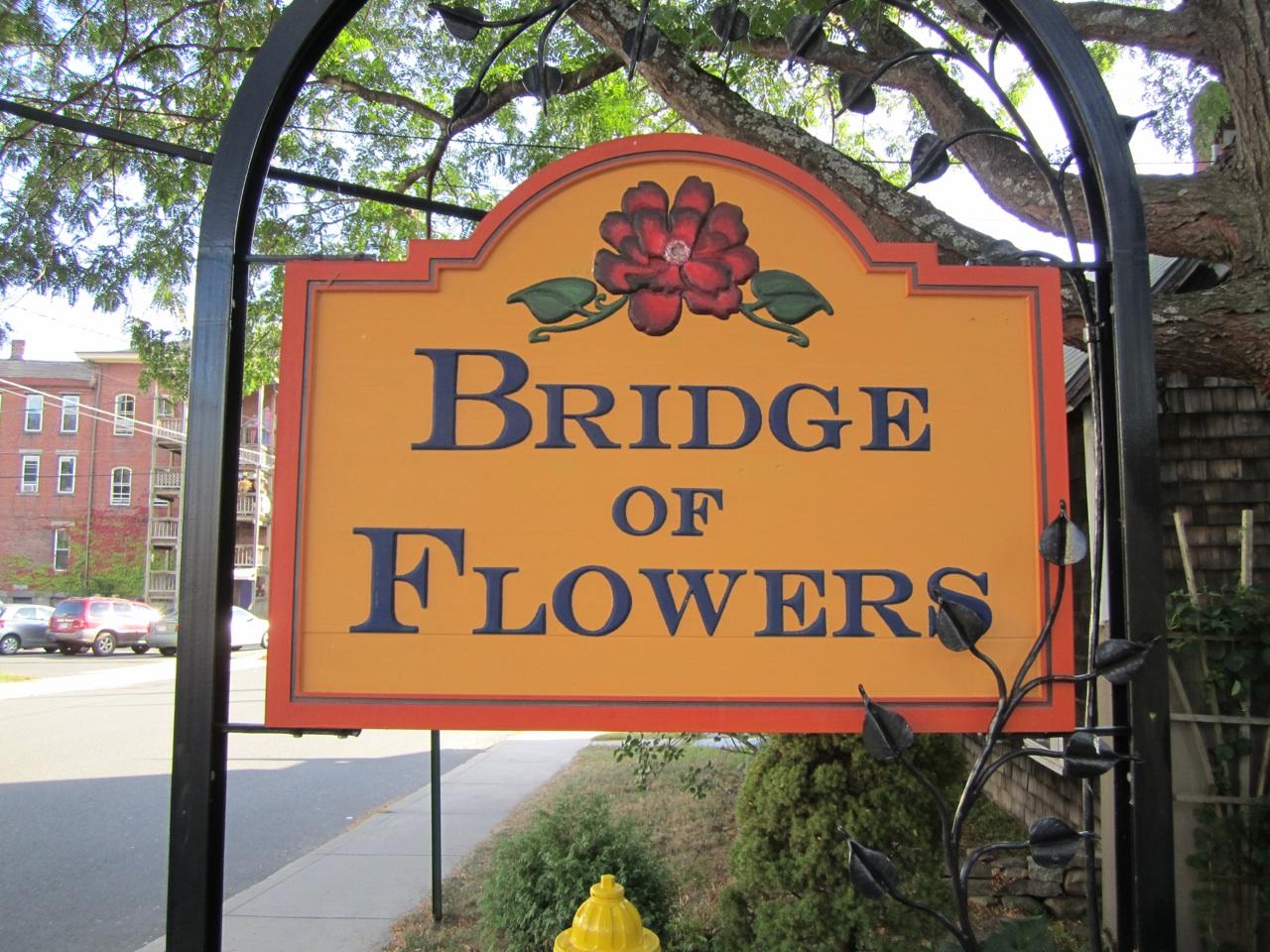 Bridge Of Flowers Sign In Shelburne Falls, Massachusetts