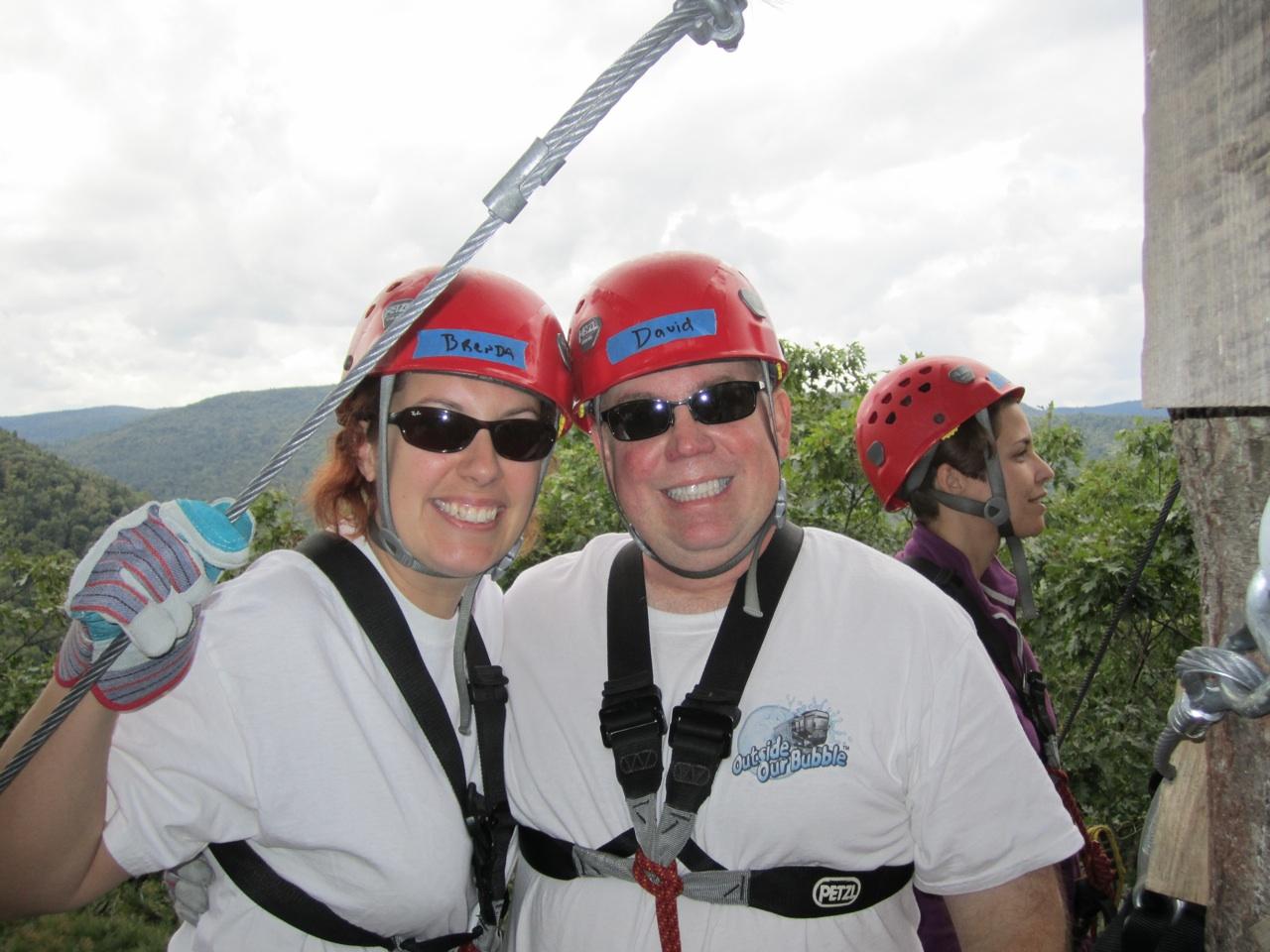 David & Brenda Zip Lining Through The Birkshire Mountains in Charlemont, Massachusetts