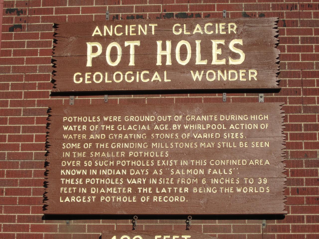 Glacier Pot Holes Sign In Shelburne Falls, MA