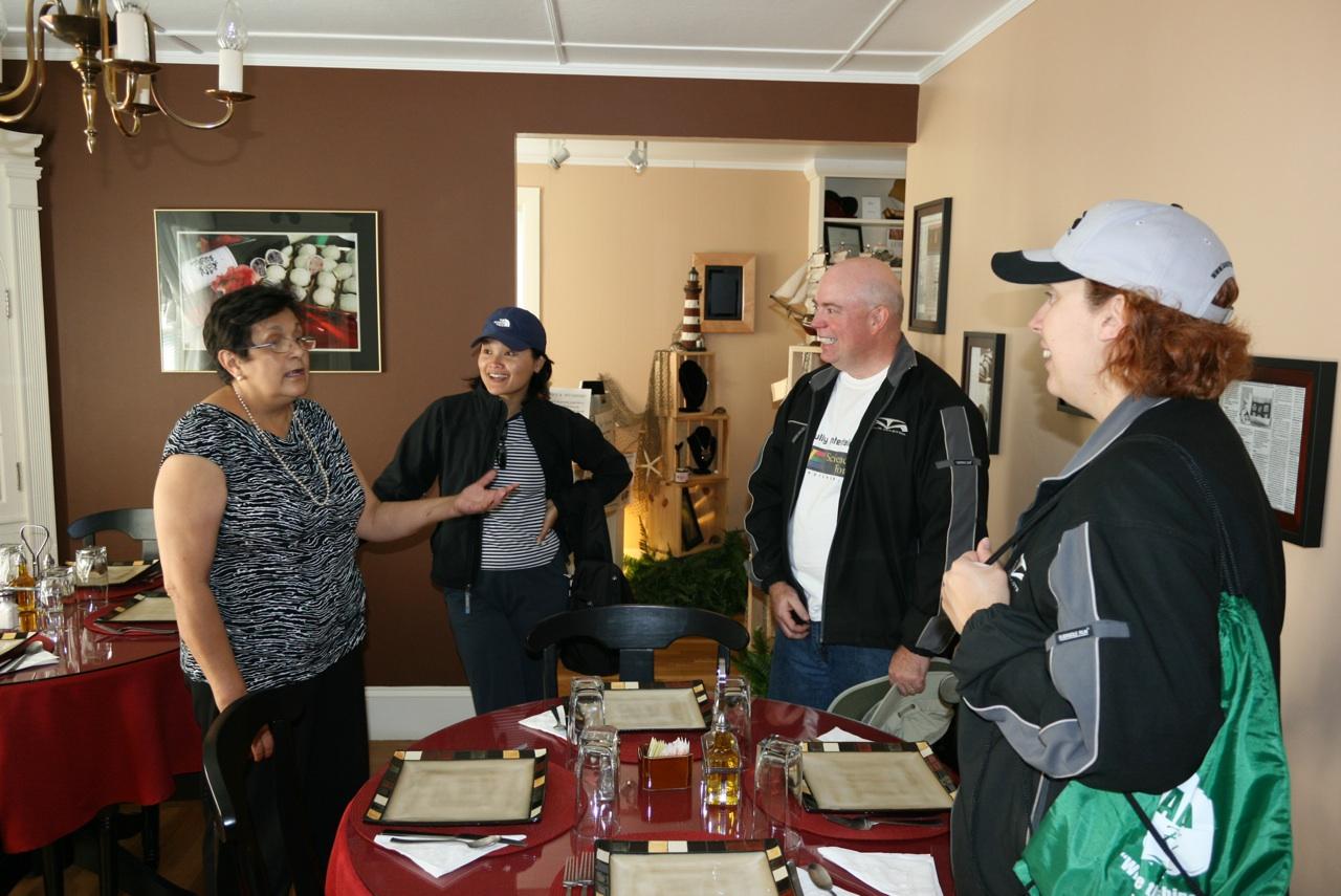 Monica Talking To Dasy From WeGoFar, David & Brenda About Her Success. Thank You WeGoFar.com For The PIcture.