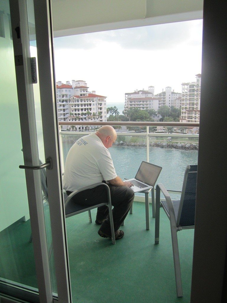 David Doing Some Work On Our Balcony Before He Looses The Signal As We Sail Away.