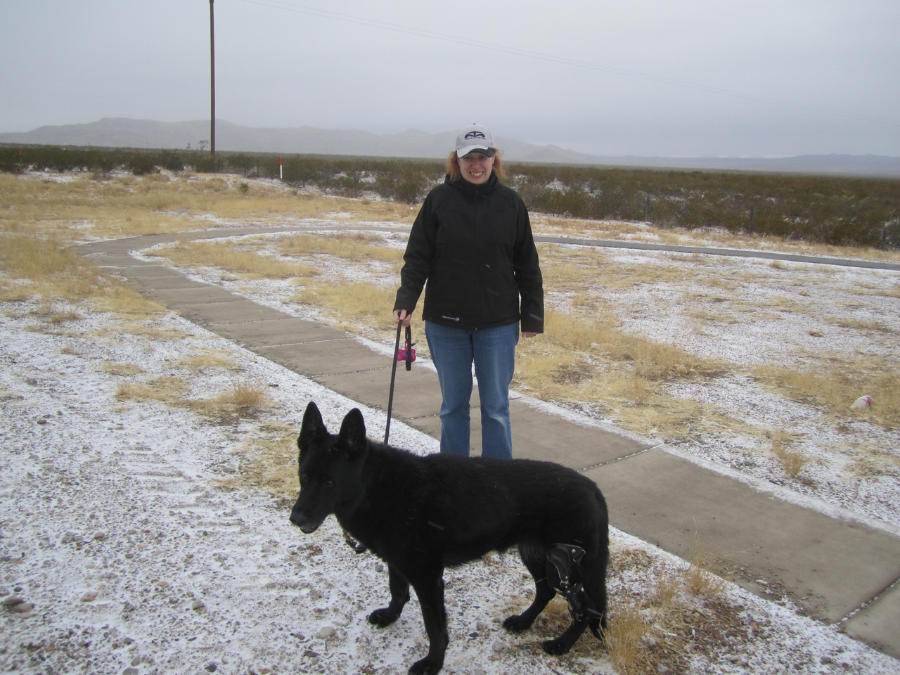 Tasha and Brenda At A Rest Stop.  Yes, That's Snow On The Ground and Flying Around