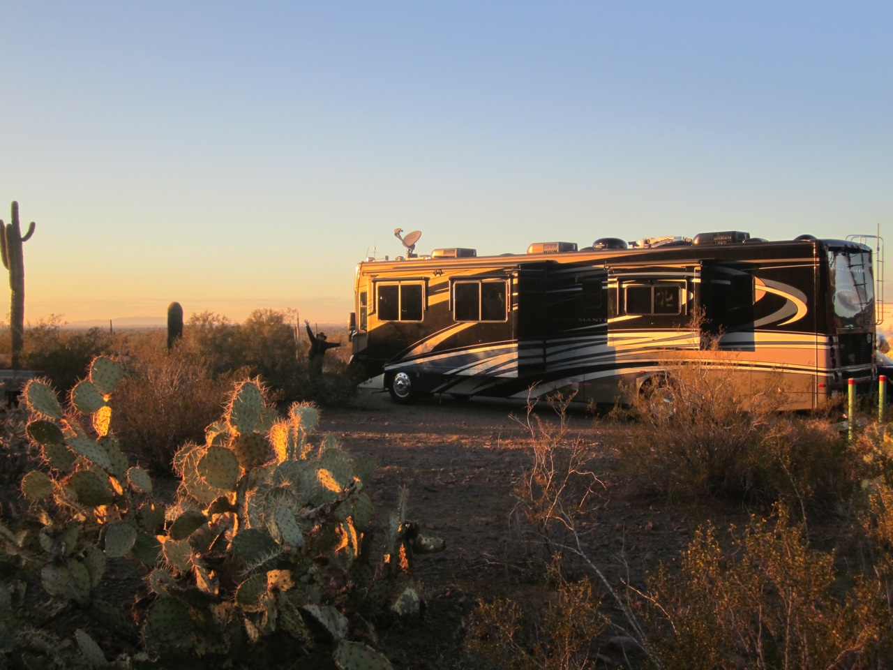 Our Spot At Picacho Peak State Park Campground.  Can You Find David In This Picture?