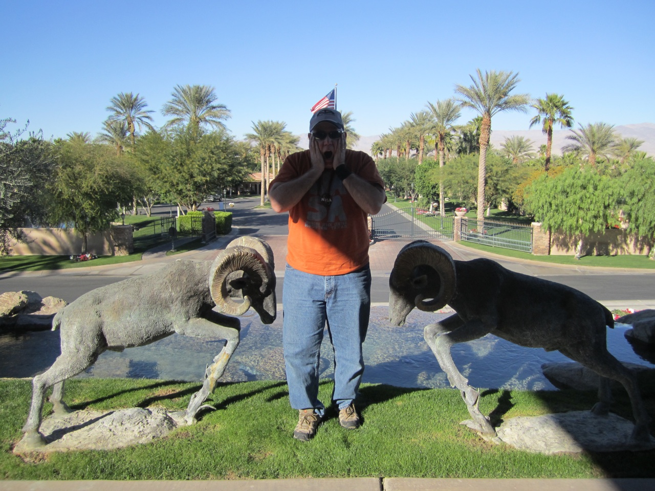 David With The Big Horns Outside The Clubhouse