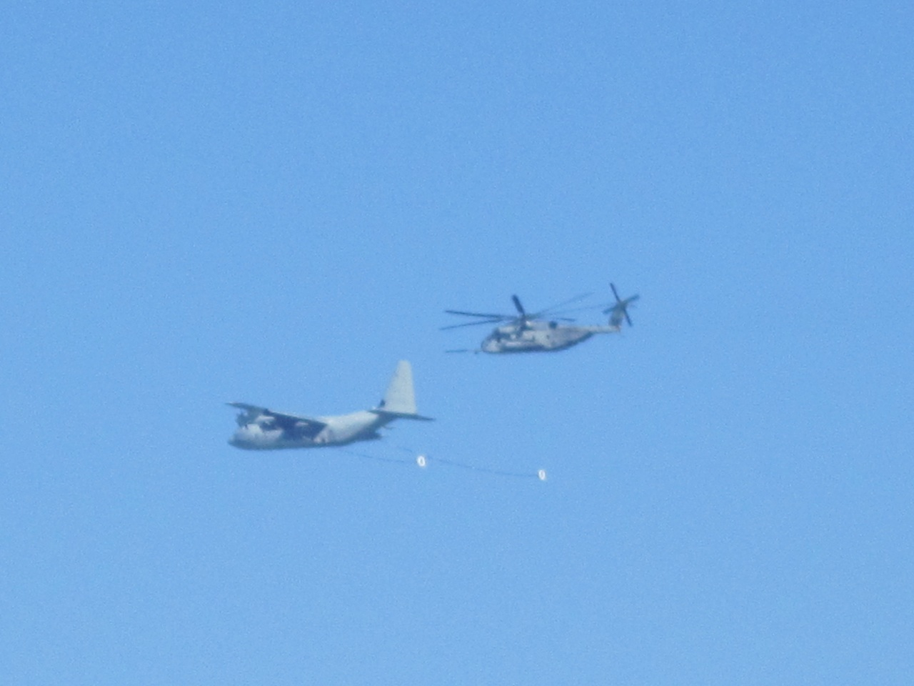 Refueling Plane and Helicopter