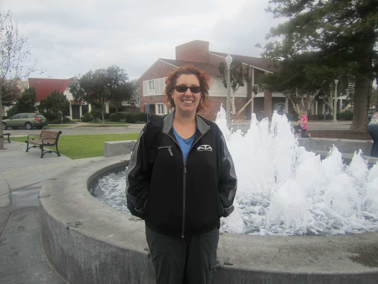 Brenda In Front Of Fountain In The Town Square In Coronado, CA