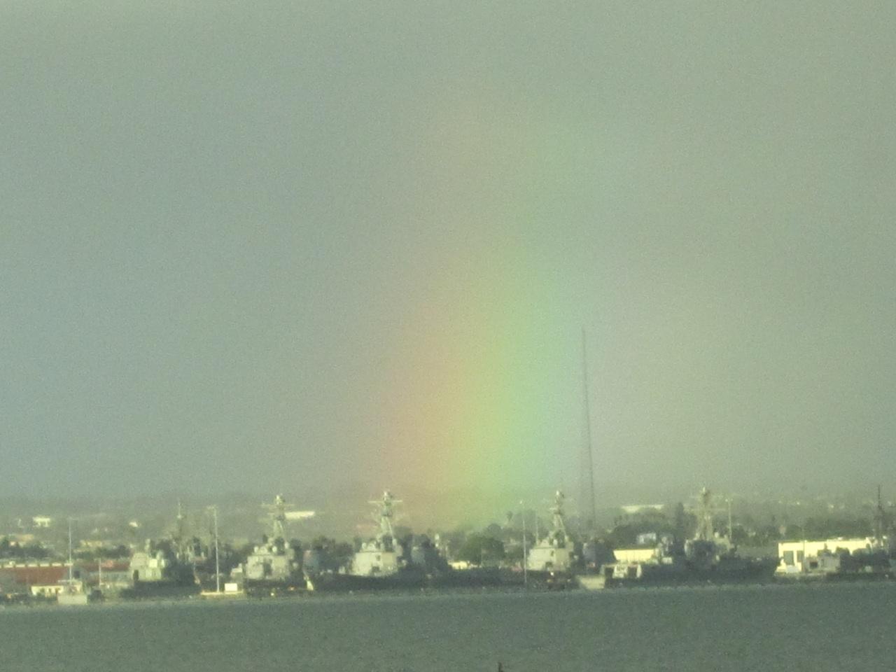 Rainbow Over The Navy Ships Across The Bay