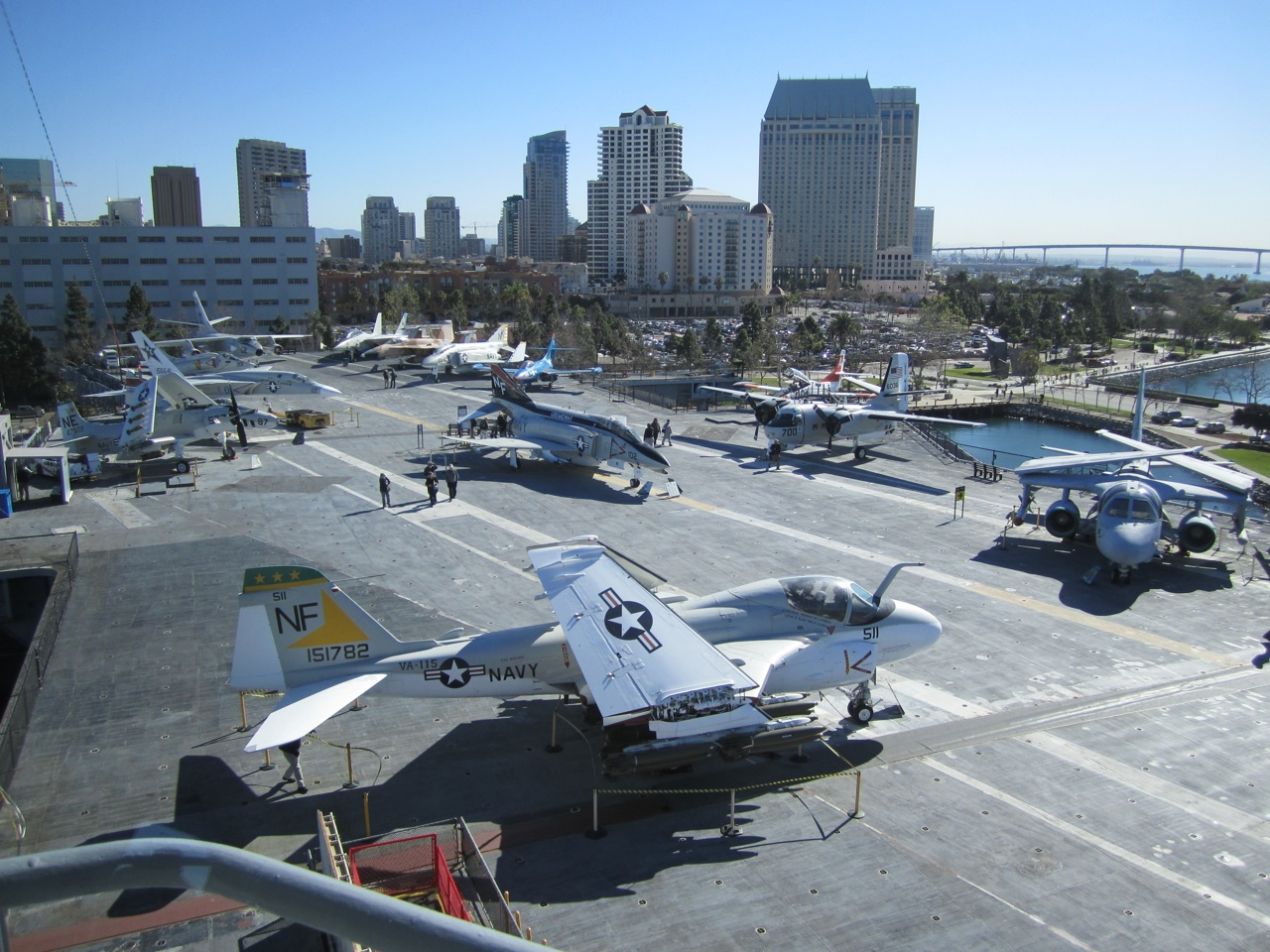 The Hanger Deck Aboard The USS Midway With The City Of San Diego In The Background