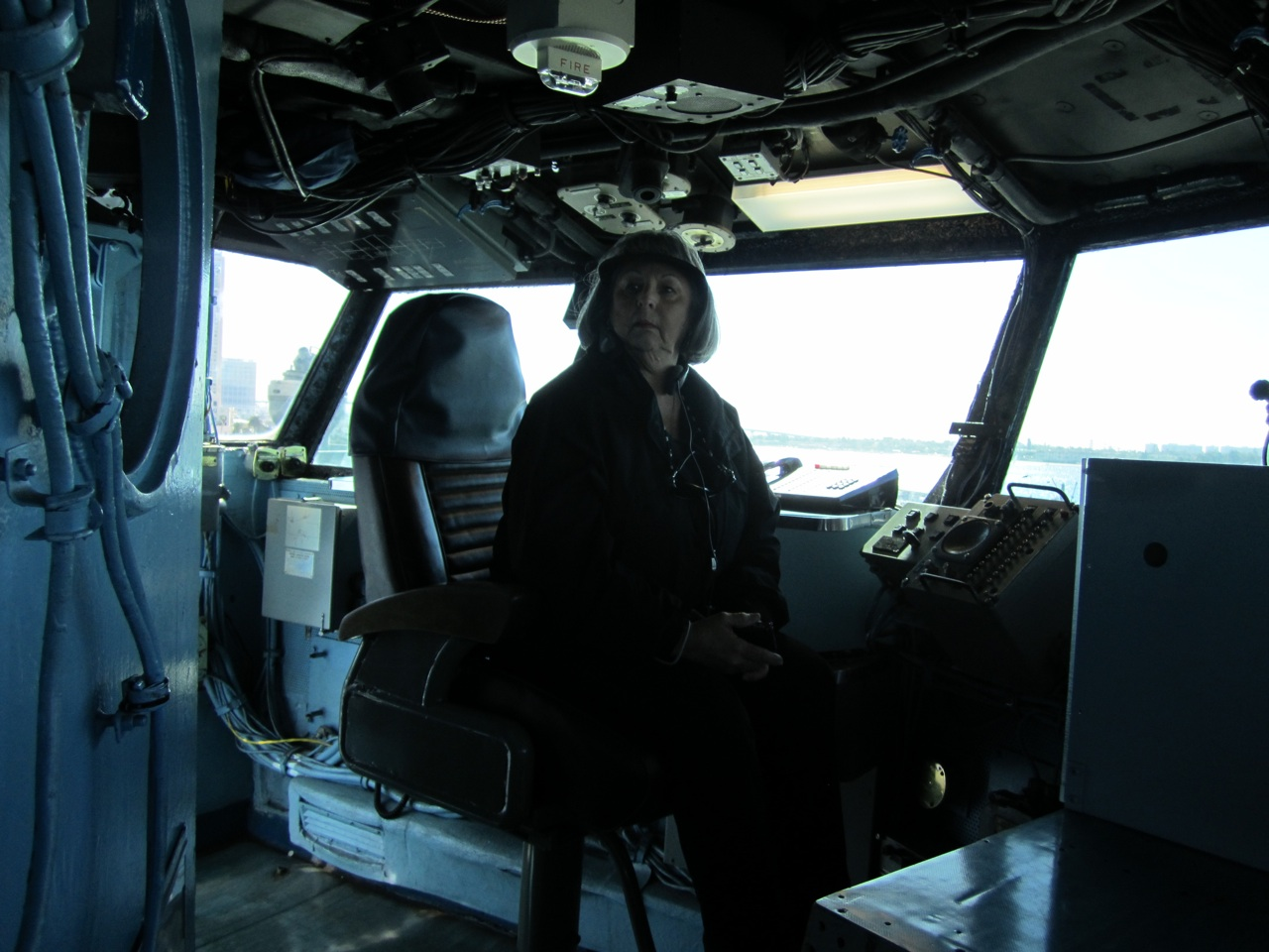 Trish Sitting In The Captains Chair On The USS Midway