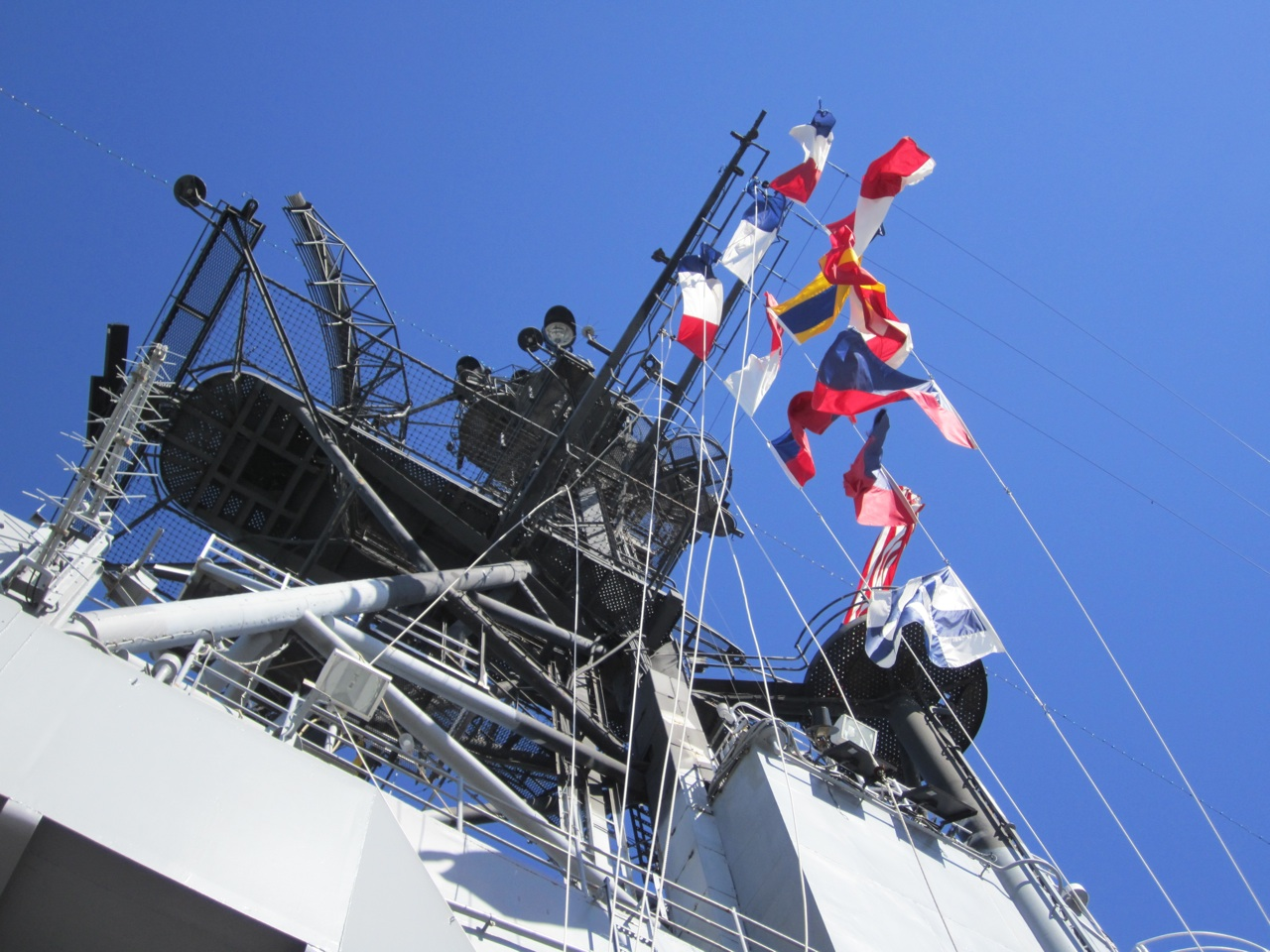 The Flags On A Beautiful Blue Sky Backdrop, Flying On The USS Midway