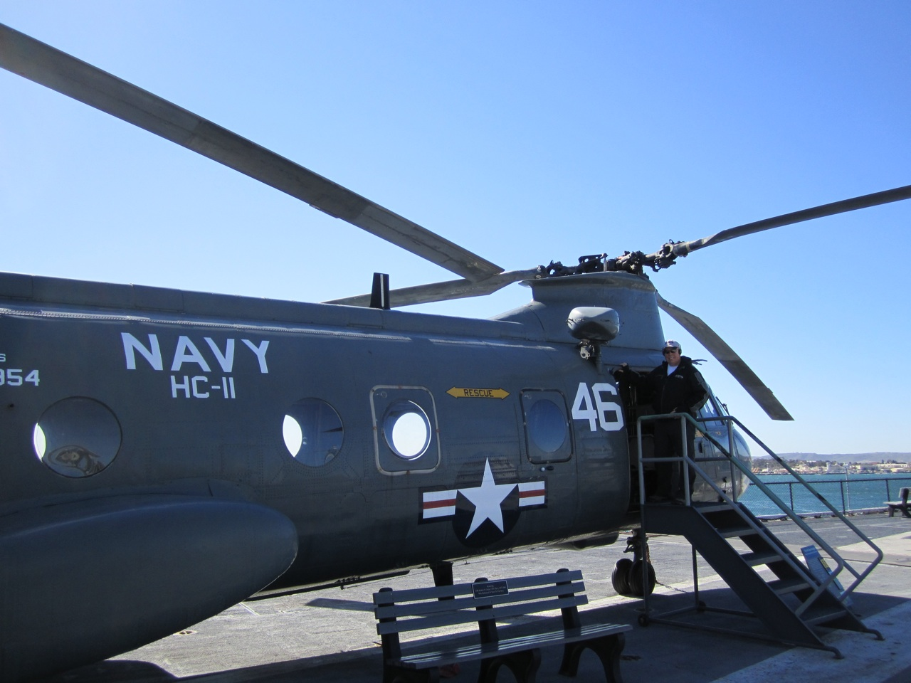 David Entering A Helicopter On The Flight Deck Of The USS Midway