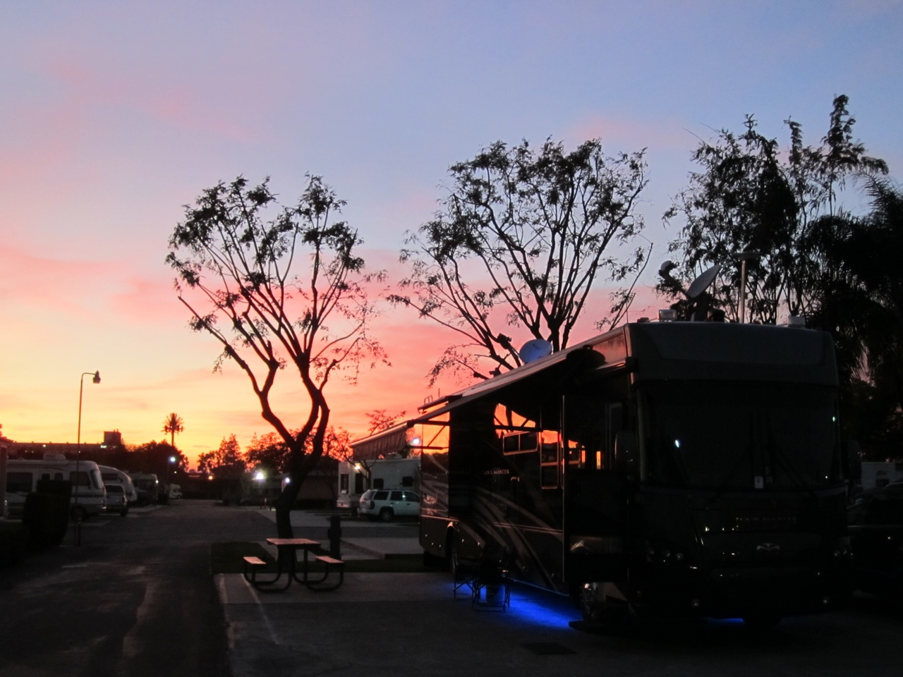 Sunset At Our Site At The Anaheim Resort RV Park