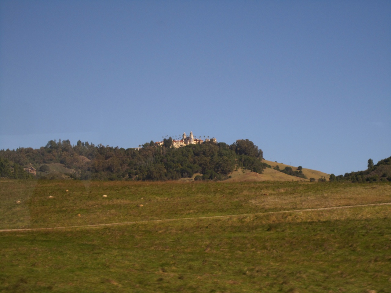 View Of Hearst Castle While Driving Up To It.