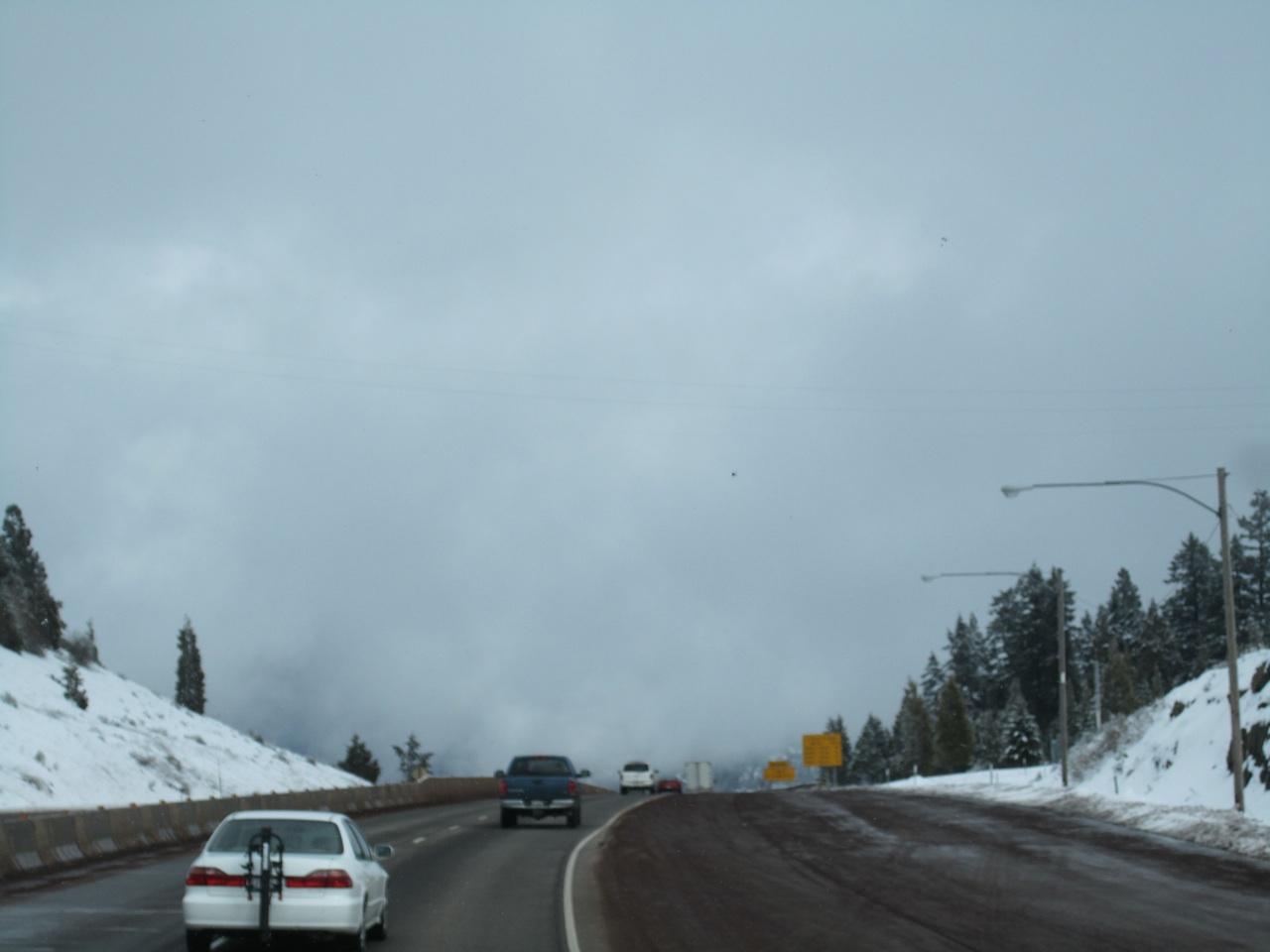 Heading Into A Snow Topped Mountain