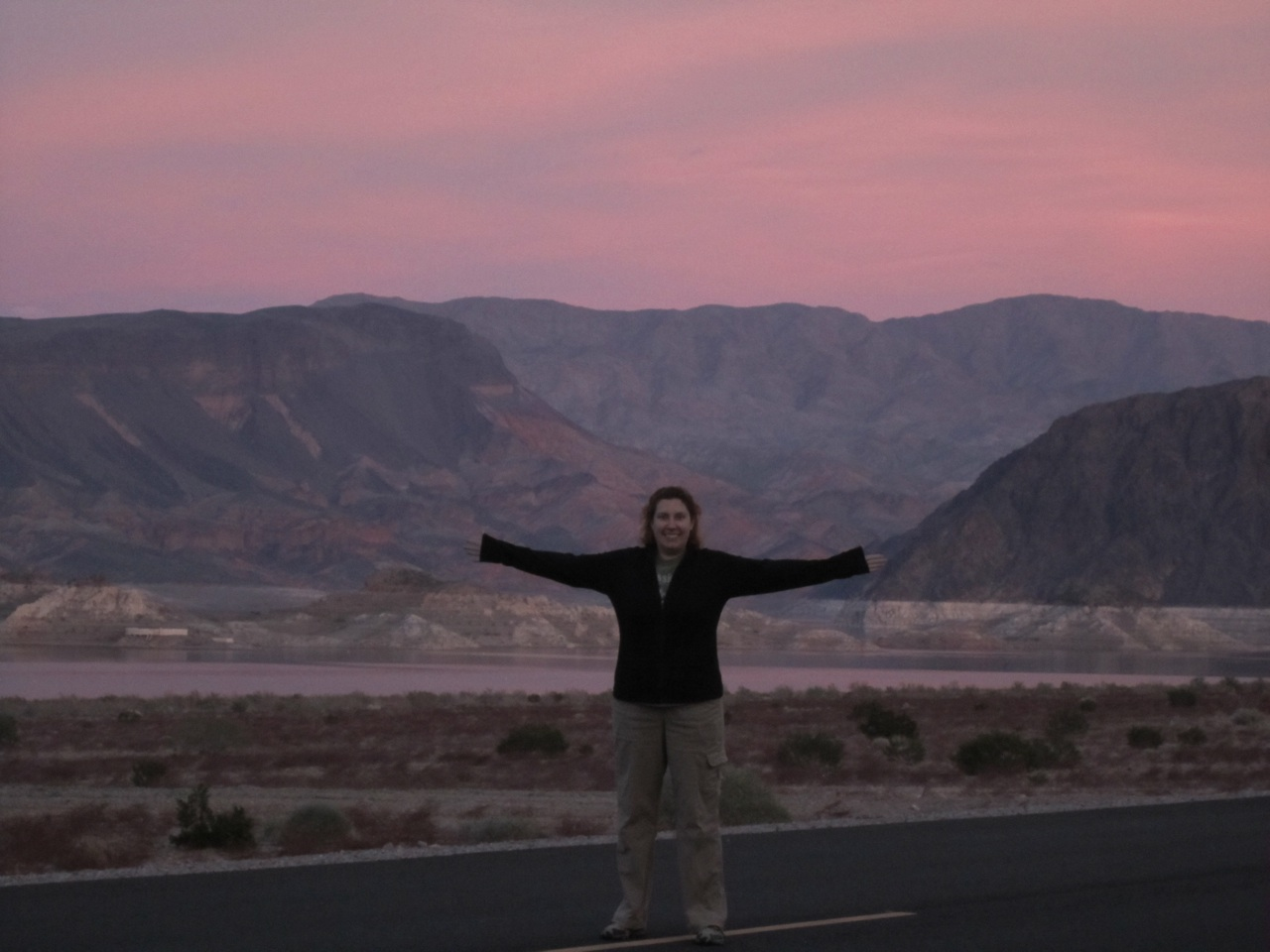 Brenda And The Beautiful Nighttime Sky At Lake Mead