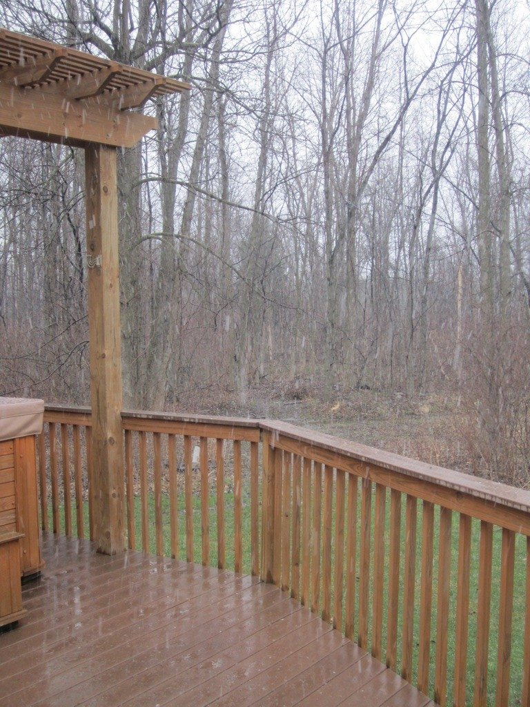 Snowing Outside From Our Side Deck