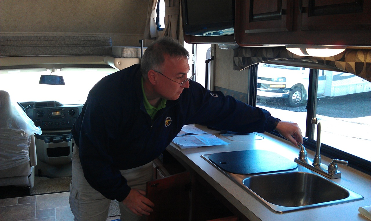 Joe Making His Inspection Of His New RV
