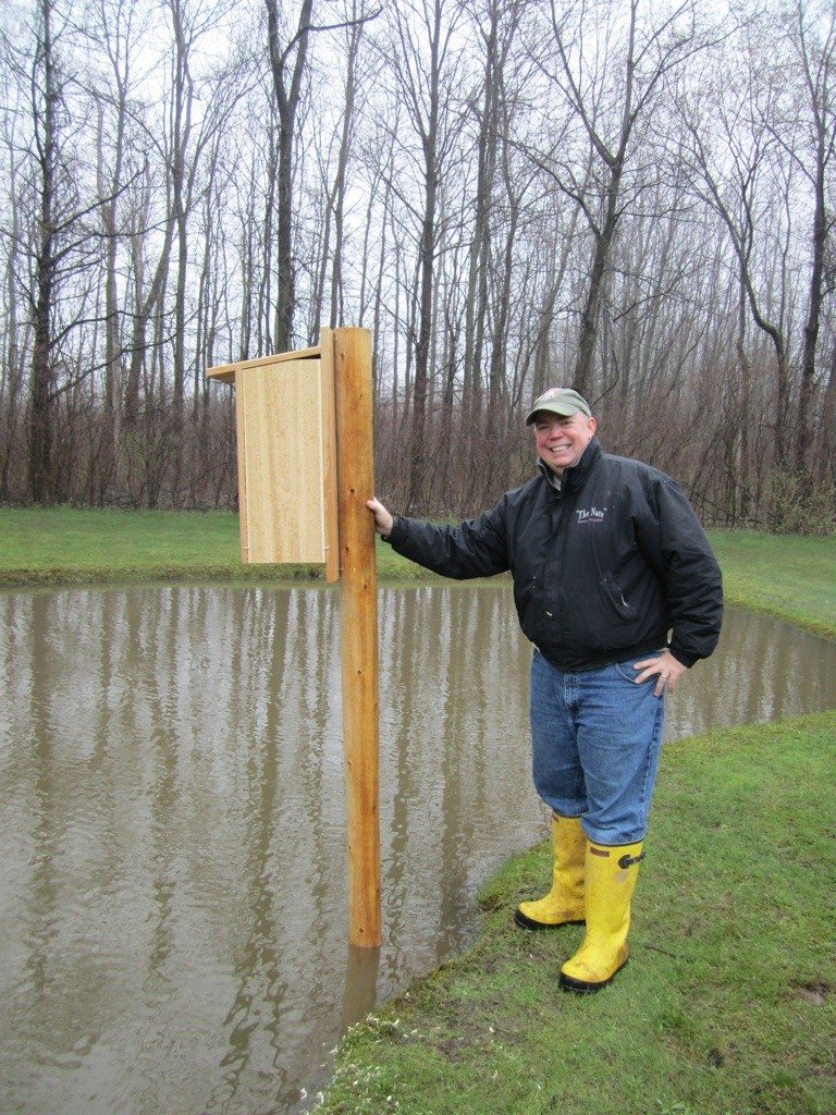 David With The Wood Duck Nesting Box We Put Up At Our Pond