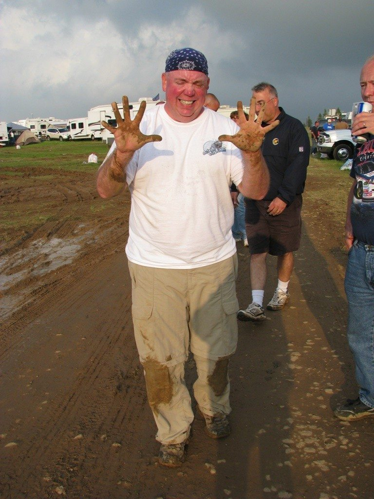 David Full Of Mud After Digging An RVer Out Of The Mud