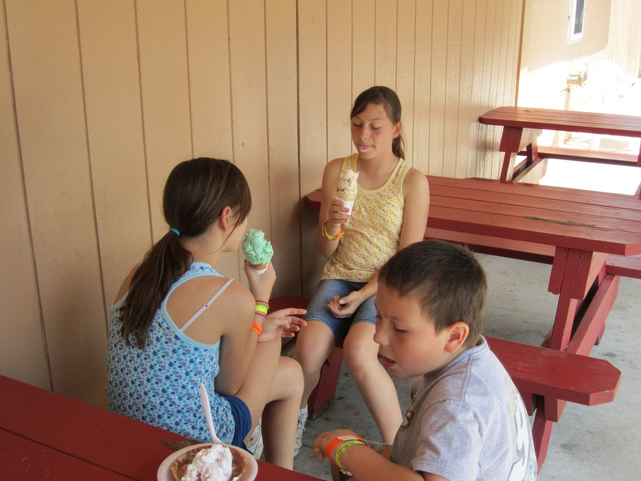 Enjoying Ice Cream After Hiking And Geocaching