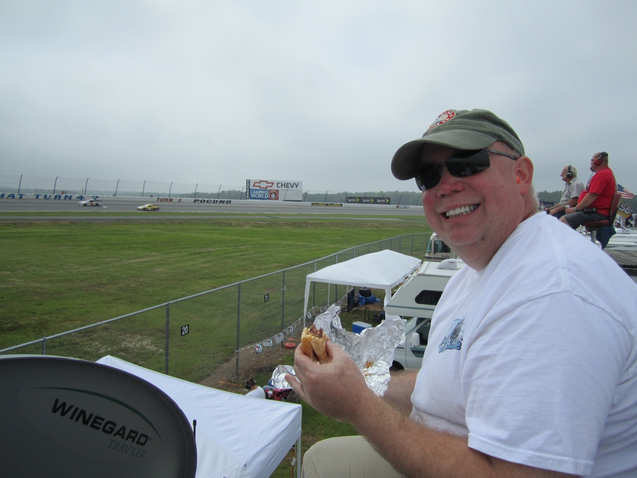 David Having Lunch On The Roof Of The Rig While Watching The Race