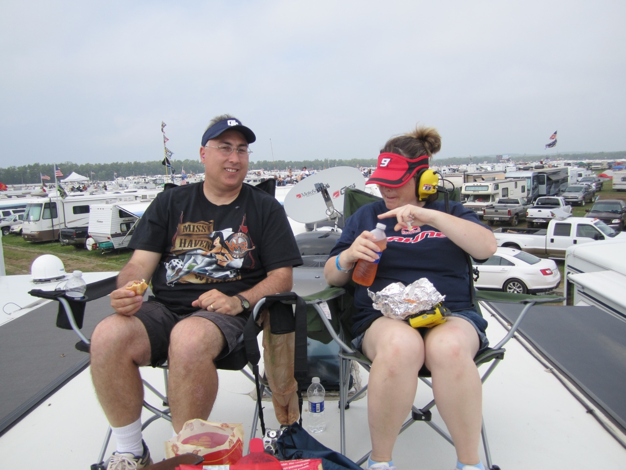 Joe And Lynn Having Lunch On The Roof While Watching The Race