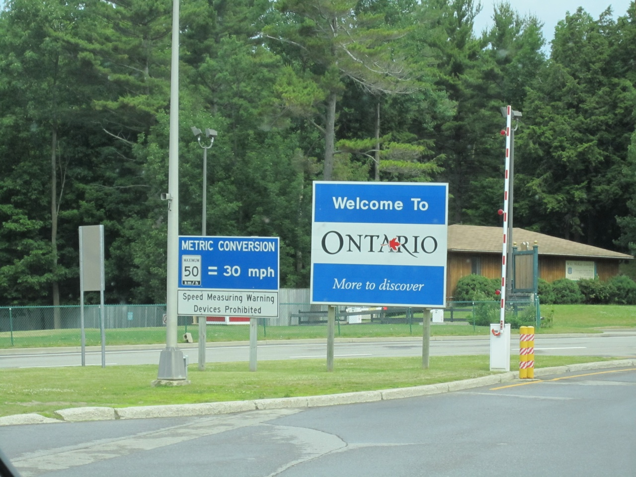 Ontario, Canada Sign Once Through The Border Crossing