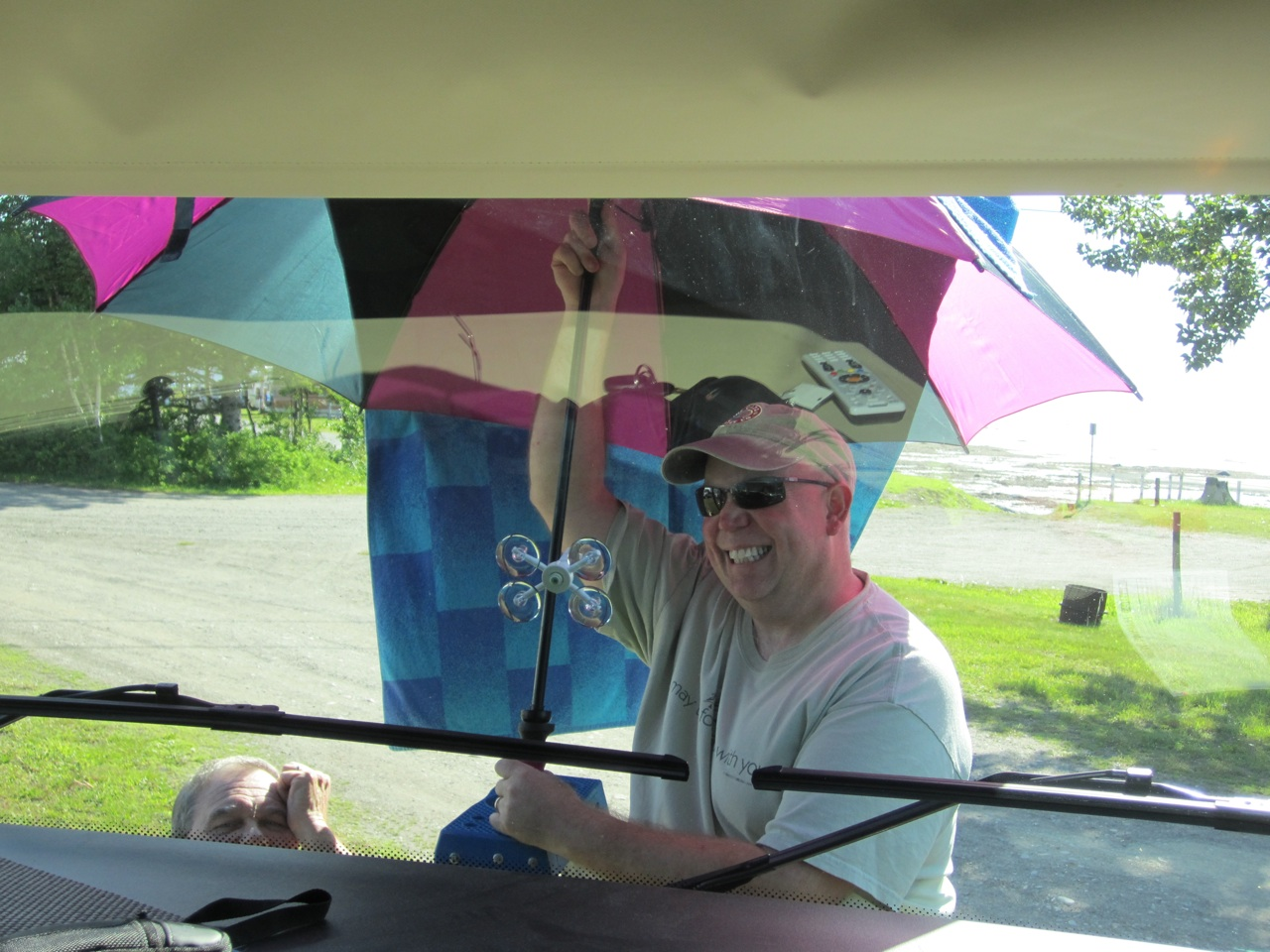 David Repairing A Chip In Our Friends RV Windshield