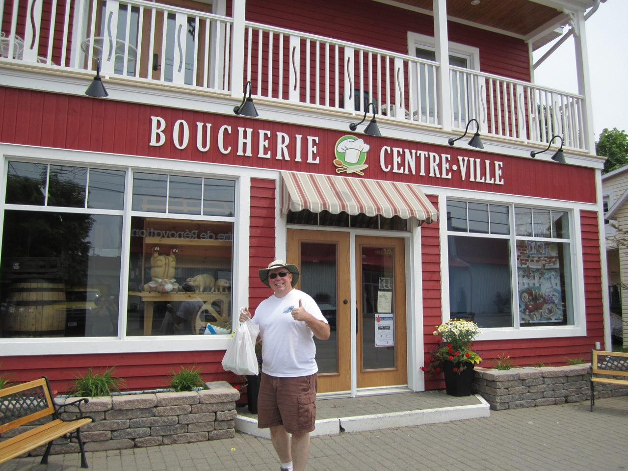 David Outside A French Butcher Shop In Town