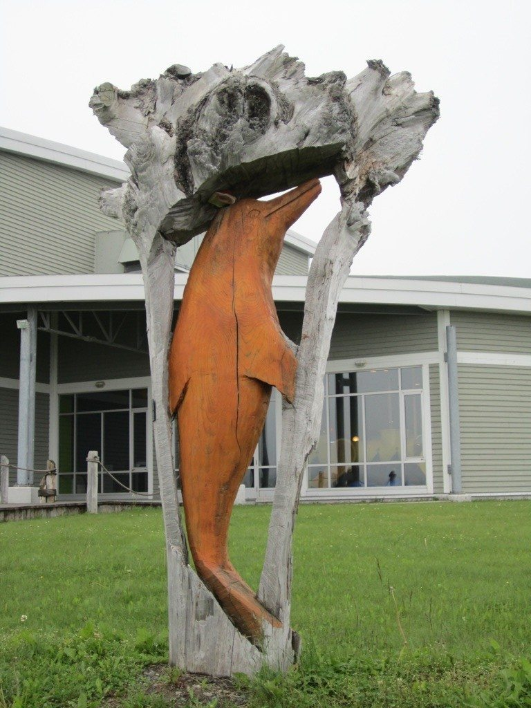 Dolphin Driftwood Sculpture In Sainte Anne des Monts
