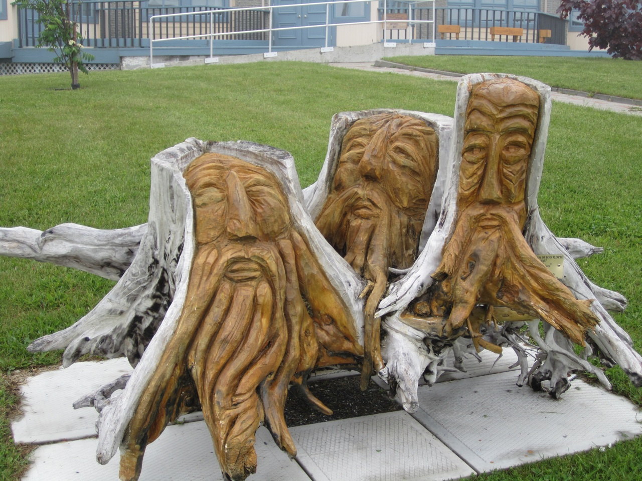 Three Men Driftwood Sculpture In Sainte Anne des Monts.