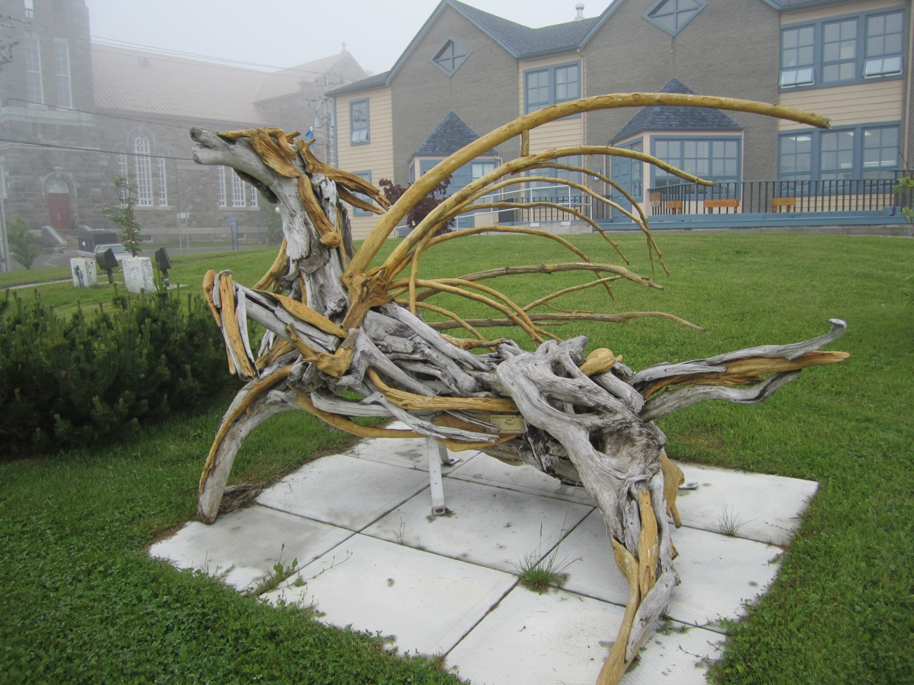 Pegasus Driftwood Sculpture In Sainte Anne des Monts.