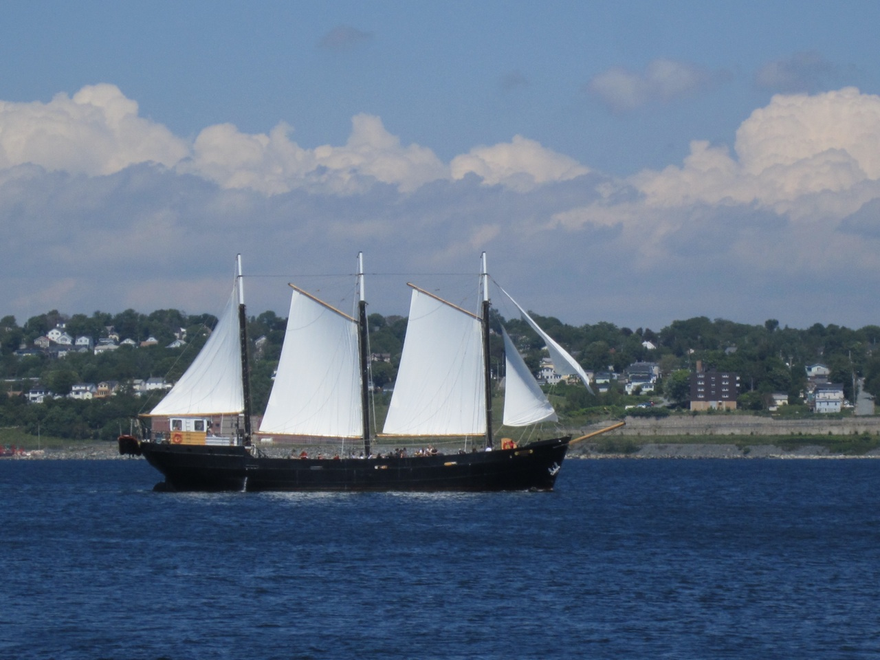 A Tall Ship In The Harbor In Halifax