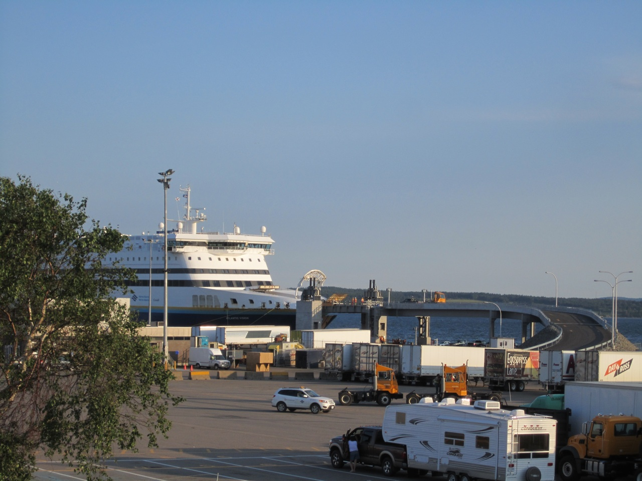 Cars And Trucks Exiting The Ferry