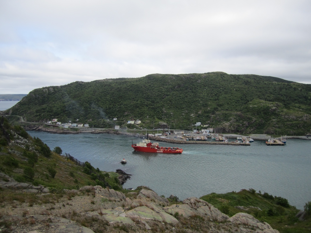 A Ship Going Out To The Ocean From St. John's Bay