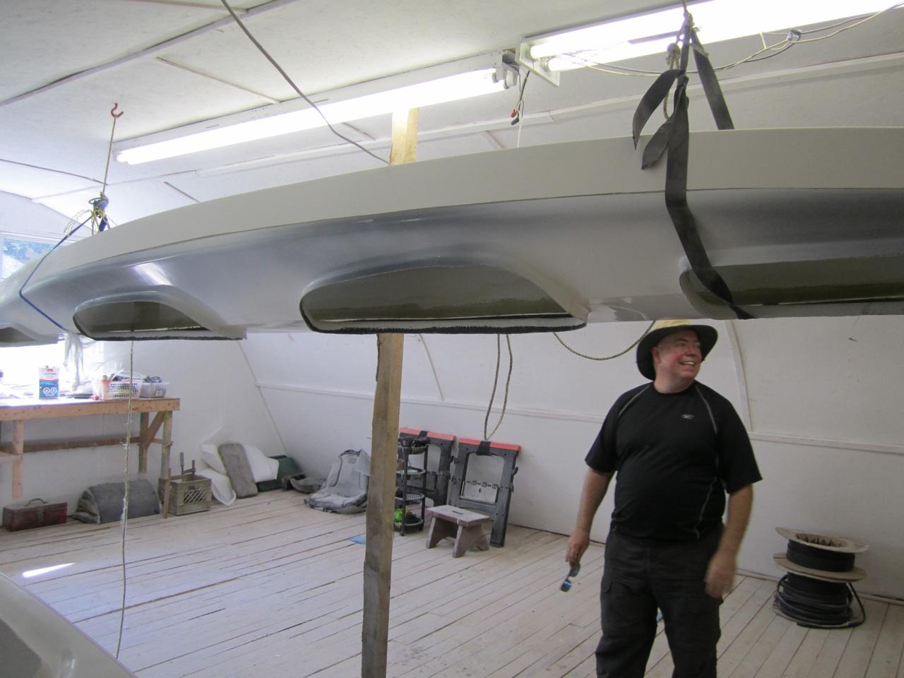 David Checking Out The Hanging Kayak