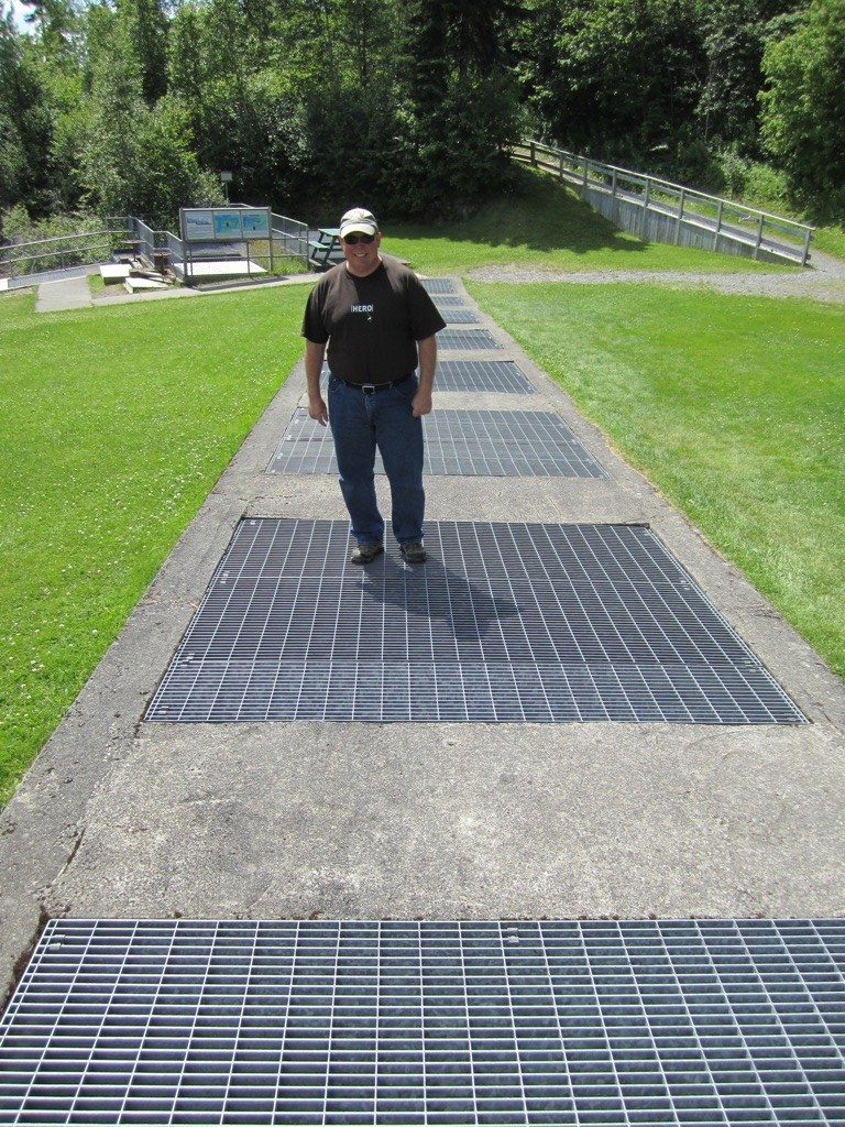David Standing On The Side Walk Grates.  Below Are The Fish Ladders And The Re-Routed Water For The Salmon To Make Their Way Up-Stream.